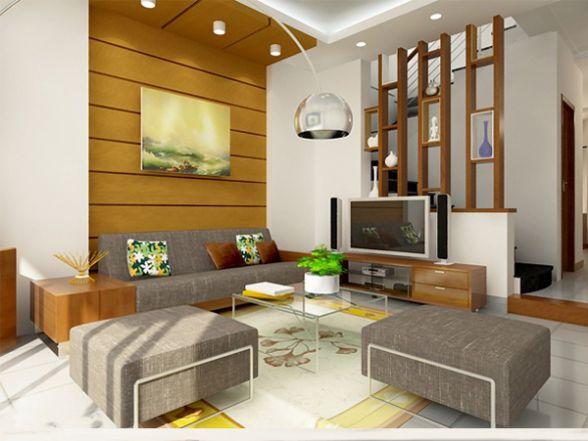 Sử dụng kệ ti vi bằng gỗ trang trí phòng khách hẹp